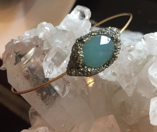 Chalcedony  and pyrite bracelet