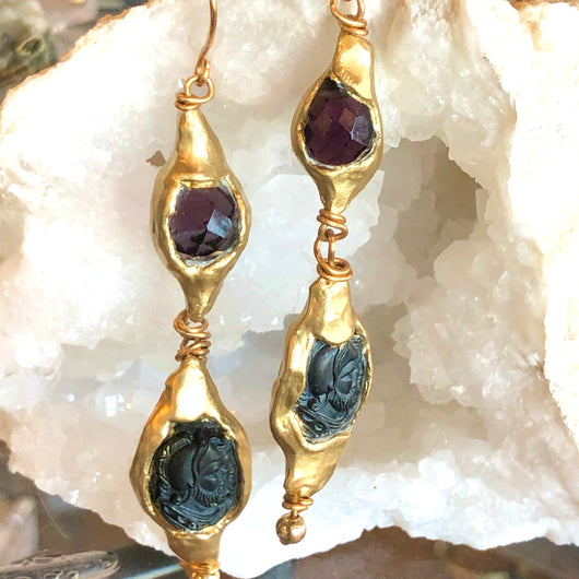 Warrior Amethyst Earrings