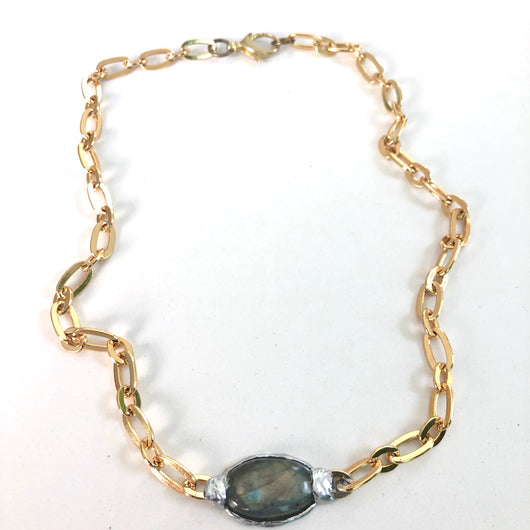 Labradorite on Gold Fill Chain