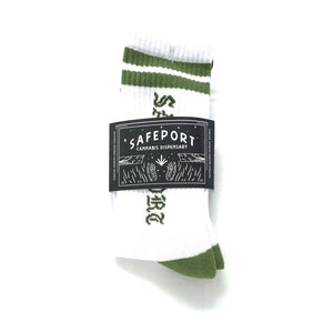 Safeport Old Skool Socks (Grn/Wht)