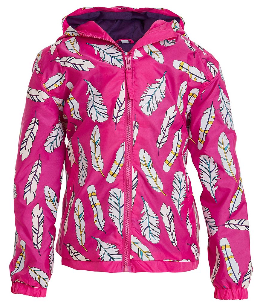 Holly + Beau Color Changing Raincoat Pink Feathers