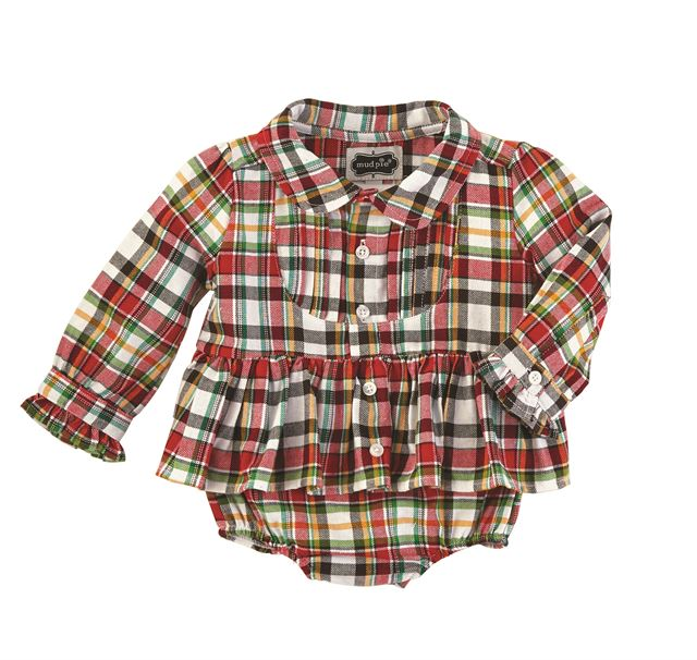 mud pie tartan plaid ruffle bottom baby Christmas girls dress infant toddler