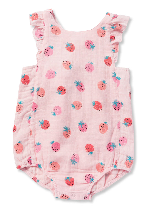 Angel Dear Muslin Strawberries Sun Suit Romper