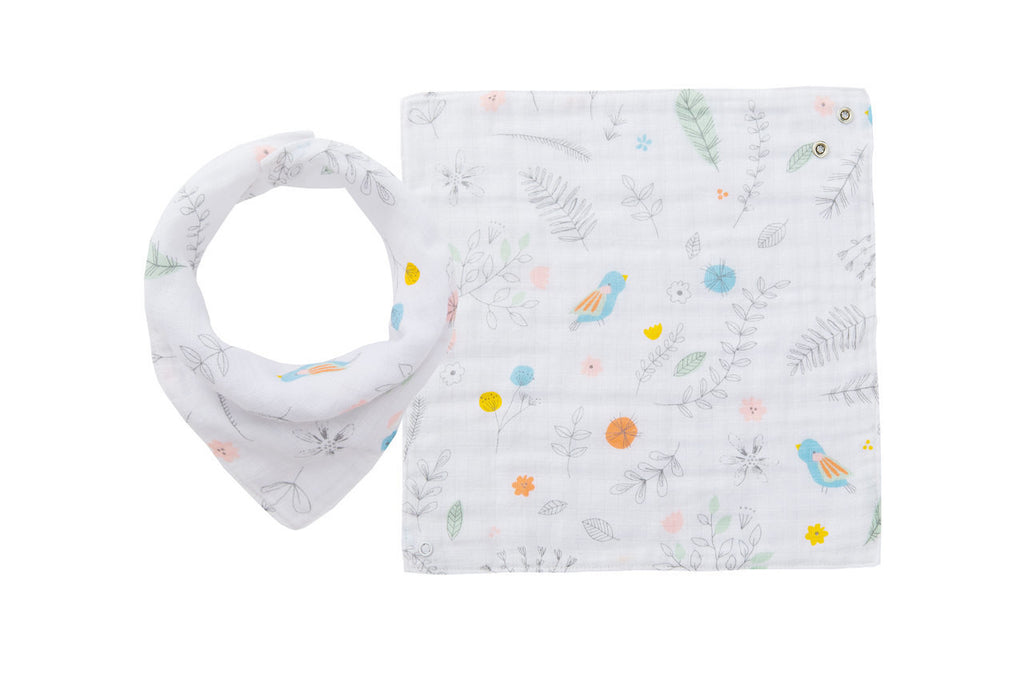 Angel Dear Muslin Pretty Foliage Bandana Bib