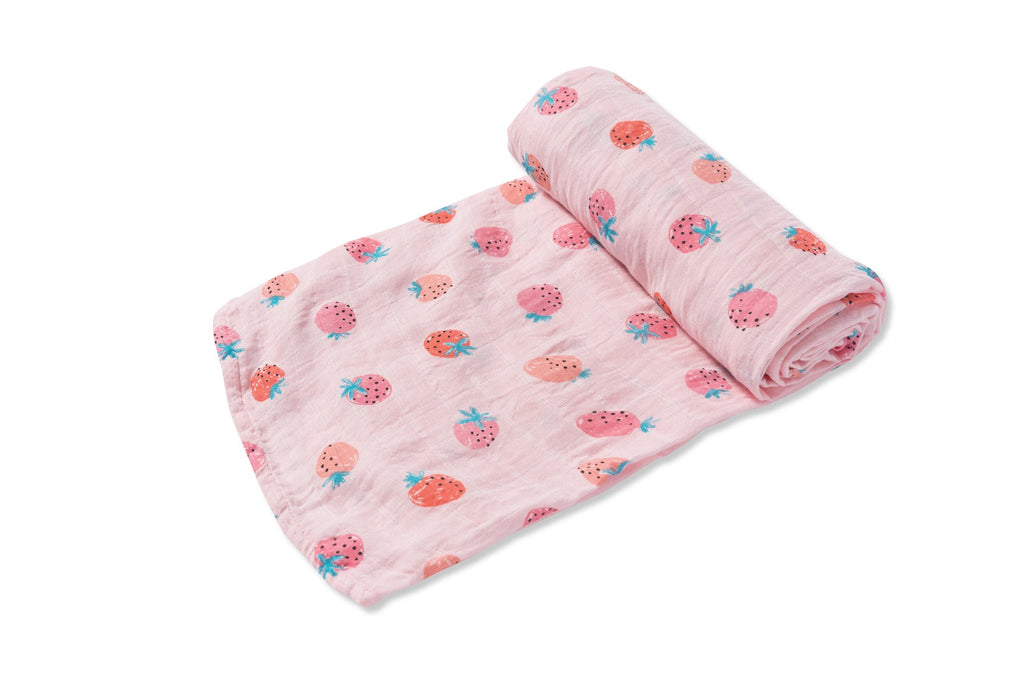 angel dear feminine infant baby newborn strawberries strawberry fruit pink muslin swaddle blanket