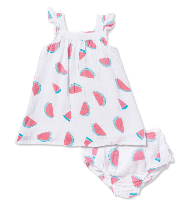 Angel Dear Muslin Watermelon Sun Dress With Diaper Cover