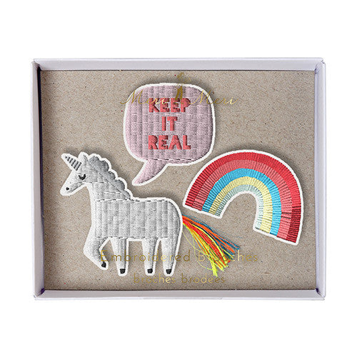 meri meri unicorn embroidered patches pins patch brooches kids