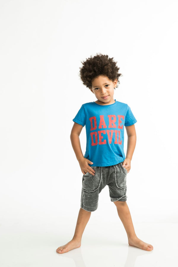 Joah Love Braxton Dare Devil Tee - Cancun  Bright blue tee with red 'Dare Devil' print  Made in the USA  Children's, Baby boy, Toddler boys, Tops, Shirts, Joah Love