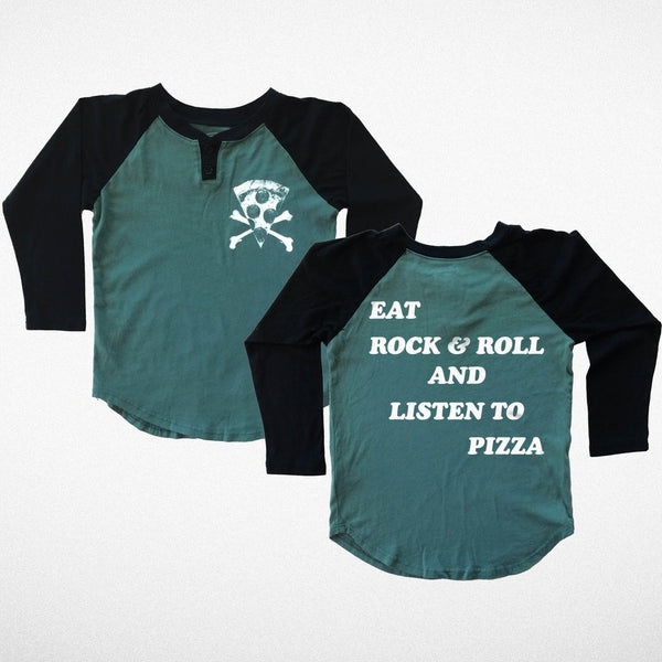 eat rock and roll listen to pizza tiny whales American made Childrens infants toddlers t-shirt clothing