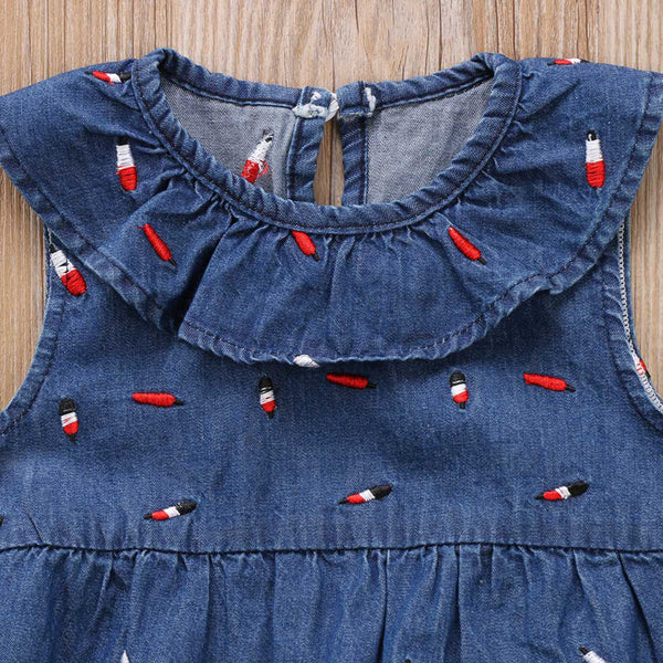 SALE Firecracker Denim Embroidered Ruffle Romper