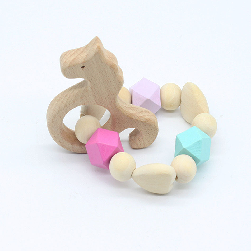 unicorn hedgehog wooden teether baby infant teething toddler animal