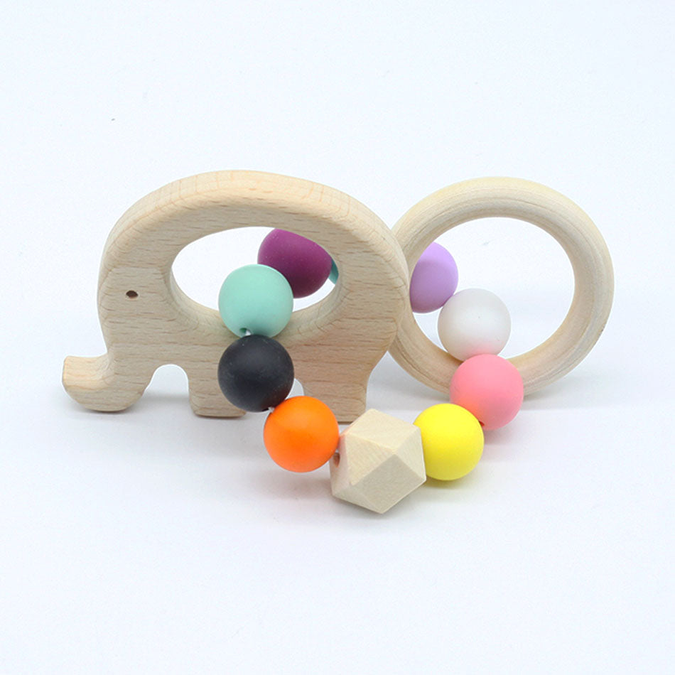 hedgehog wooden teether baby infant teething toddler animal elephant