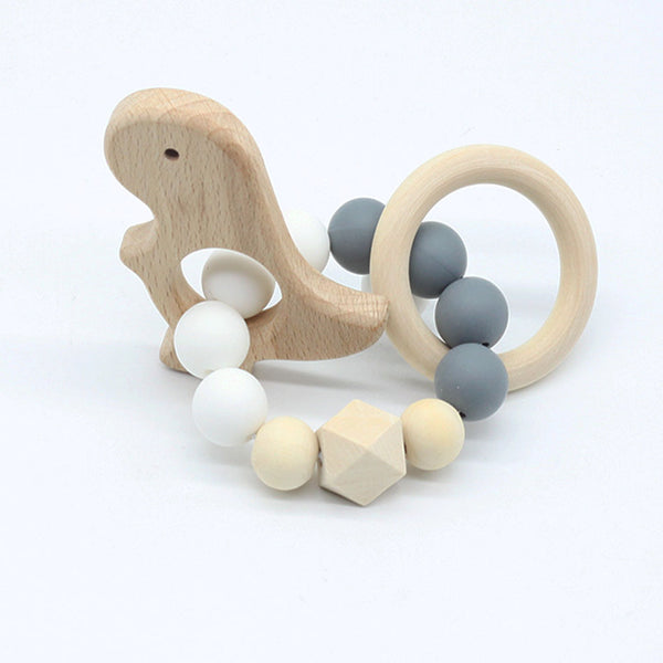 Dinosaur Wooden Baby Teething Bracelet Teether Toy