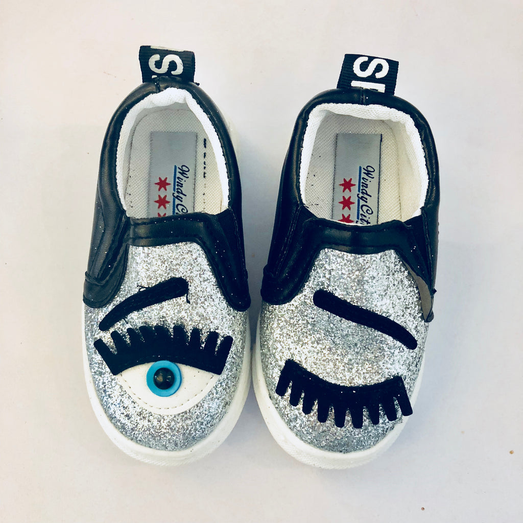 Silver Eye See You Glitter Slip Ons
