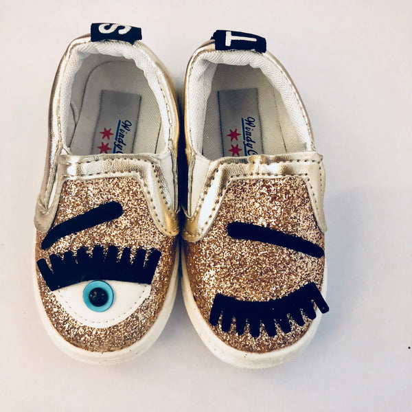 SALE Gold Eye See You Glitter Slip Ons