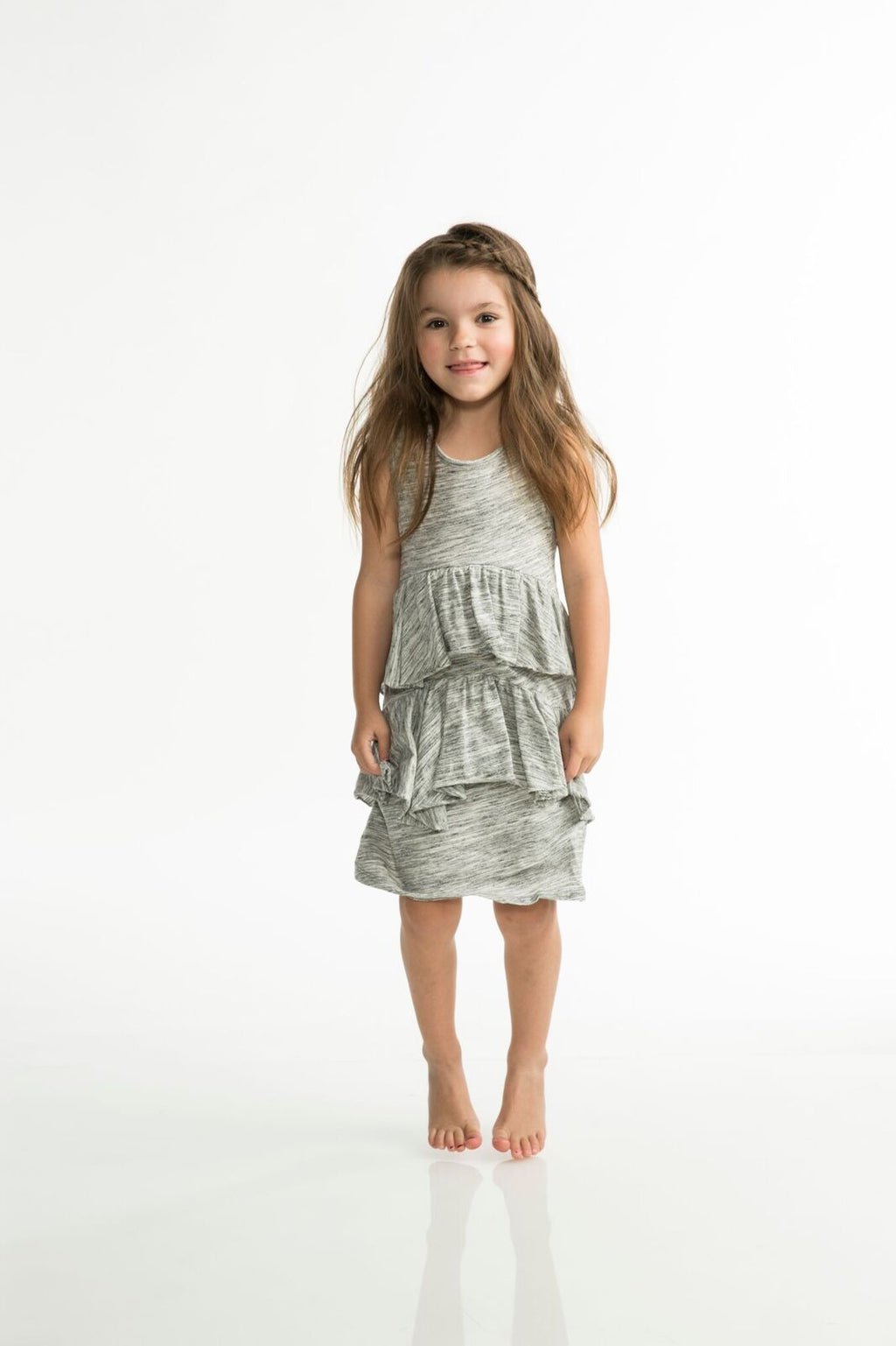 Joah Love Lani Soft Marble Jersey Two Tiered Dress  Grey and white marble jersey tank dress with tiered ruffles  Made in the USA  Children's, Girls, Toddler girls, Dresses, Joah Love