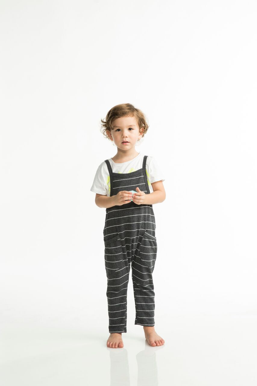 Joah Love Peyton Gauze Stripe Overalls - Black Toddler