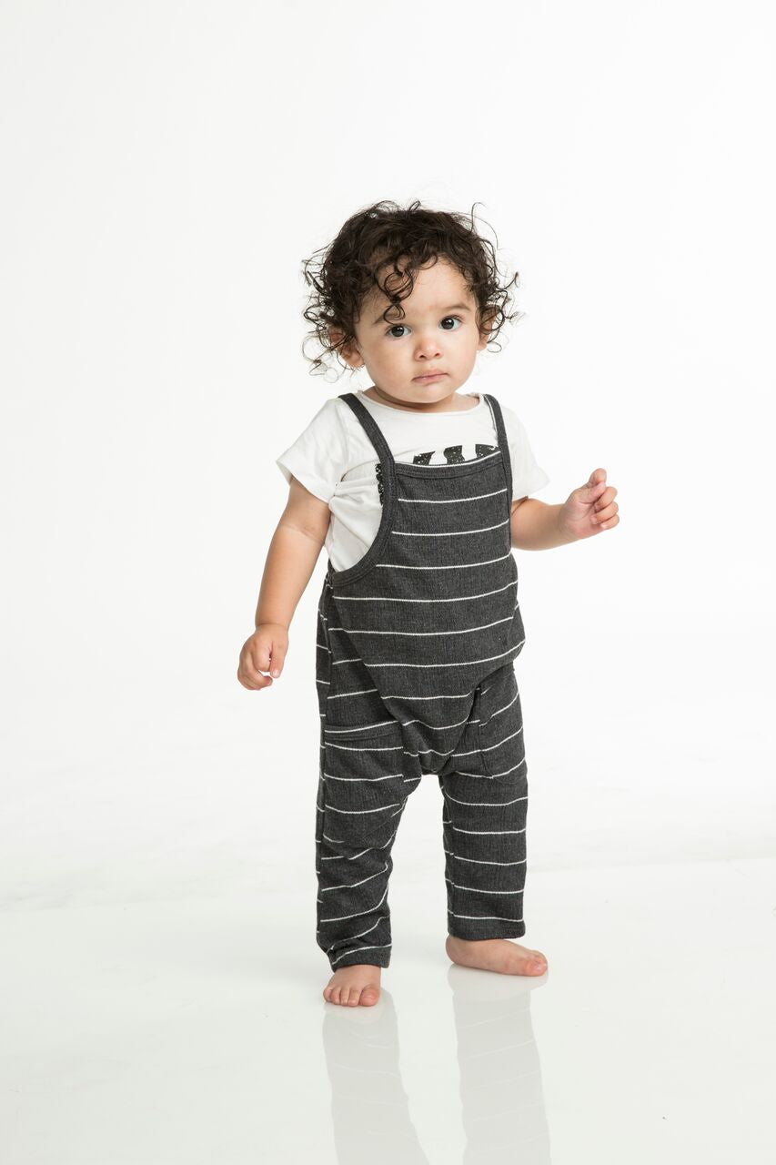 Joah Love Peyton Gauze Stripe Overalls - Black Infant