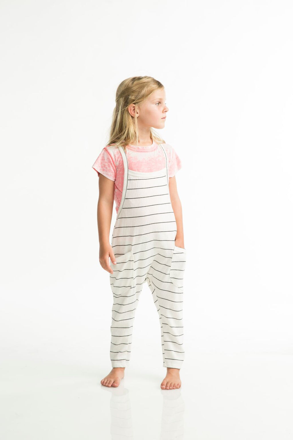 Joah Love Payton Unisex Gauze Stripe Overalls - Ivory  White overalls with black stripes  Made in the USA  Children's, Gender neutral, Baby girl, Baby boy, Toddler girls, Toddler boys, One piece, Overalls, Dungarees, Joah Love