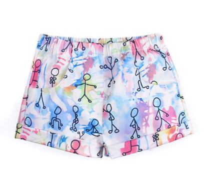 Watercolor Graffitti Stick Figure Shorts