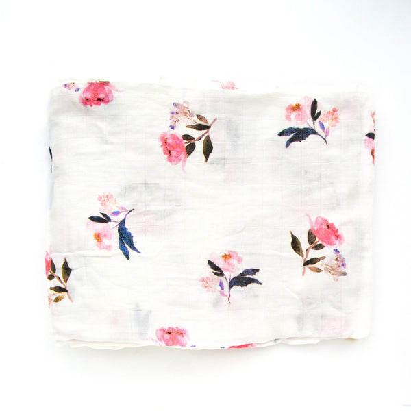 lou lou lollipop loulou Lolli pop muslin bamboo organic swaddle blanket watercolor floral print