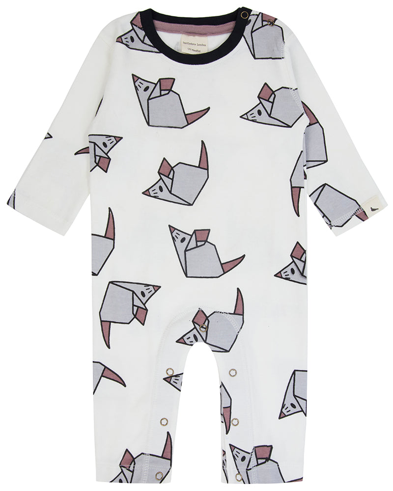 SALE 6-12 ONLY Turtledove London Origami Mouse Organic Playsuit