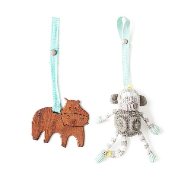 Finn + Emma organic stroller buddies buddy knit rattle toy baby carseat hipster hippo monkey