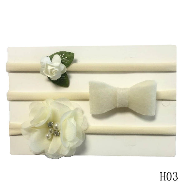 3 Pack Stretch Super Soft Infant Headband Set Ivory