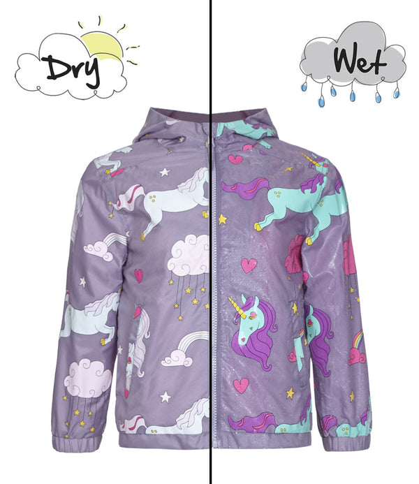 holly & beau color changing hyper color raincoat coat jacket rain kids toddler unicorns