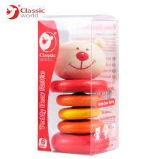 classic toys teddy bear wooden rattle toy infant toddler baby