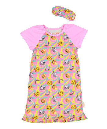 Emoji Jammies with Eye Mask Pajama Night Dress
