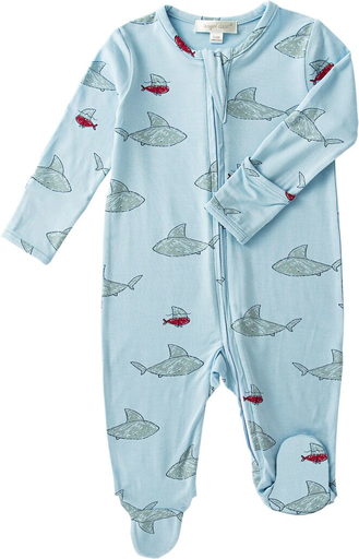 angel dear shark and friends zip up baby pajamas footie zipper