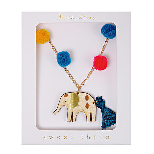 meri meri wood elephant necklace pom poms tassel kids jewelry girls