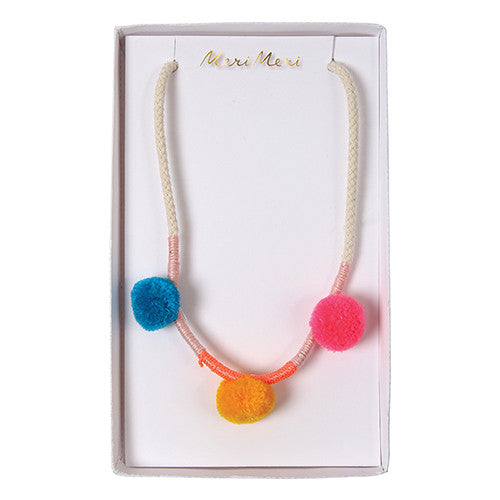 meri meri pom pom woven necklace girls kids hipster mama