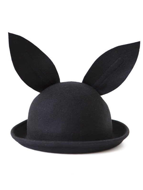 Black Rabbit Fedora Hat Bunny