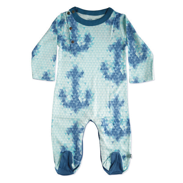 Finn + Emma Organic Blue Anchor Footie