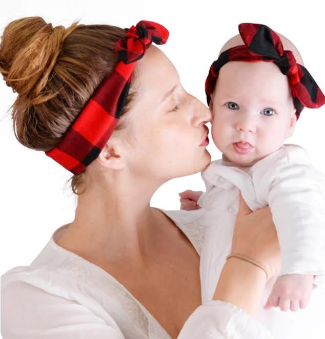 Mama & Me Buffalo Plaid Headband Set