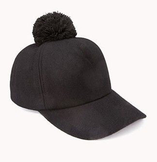 Black Pom Pom Baseball Hat- 3 Colors Available
