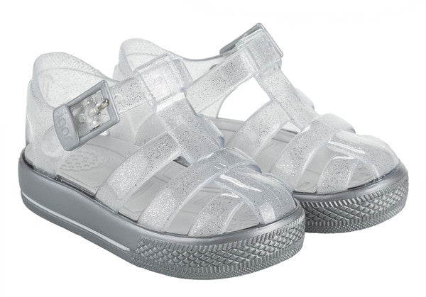 igor cienta jelly shoes jellies silver plastic shoes kids baby girls