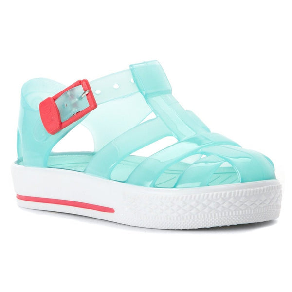 Turquoise Igor Jelly Sandals Jellies with Pink Buckle- Made in Spain