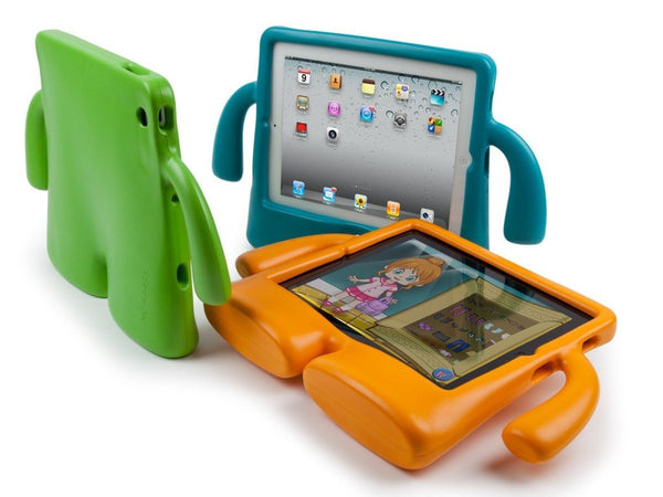iPad case for kids with arms stands up on its own iguy body tablet legs
