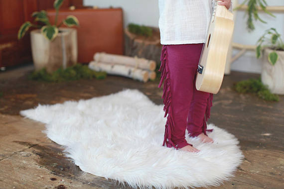 New! Organic Stretch Fringe Leggings Fuchsia Kids