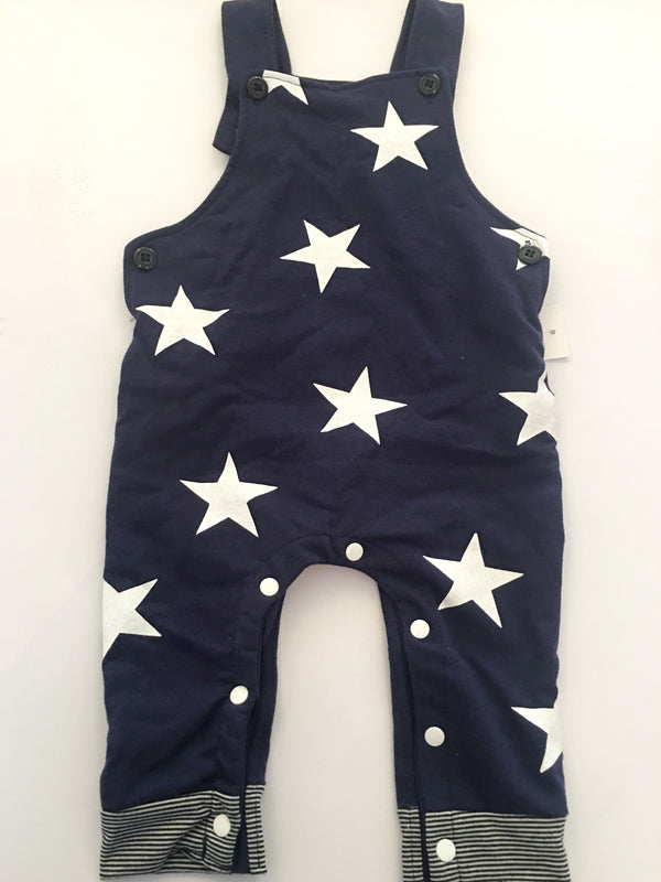 Jacob Star Print Super Soft Knit Contrasting Star Overalls