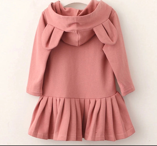 Teddy Bear Hooded Ear Peplum Dress