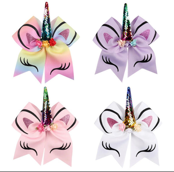 Unicorn Printed Horn Bow - Multiple Colors Available