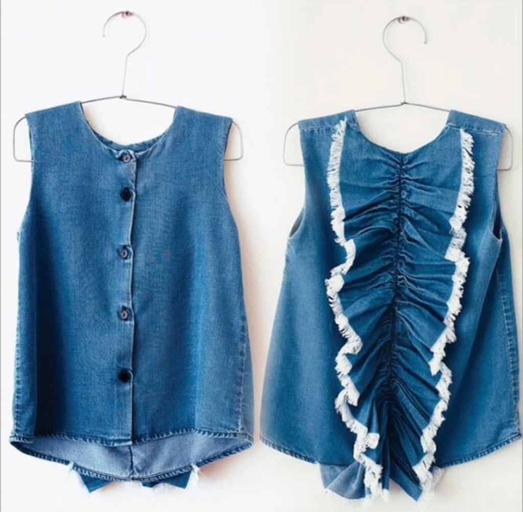 denim ruffle top girls toddler celebrity style cool kids hipster button