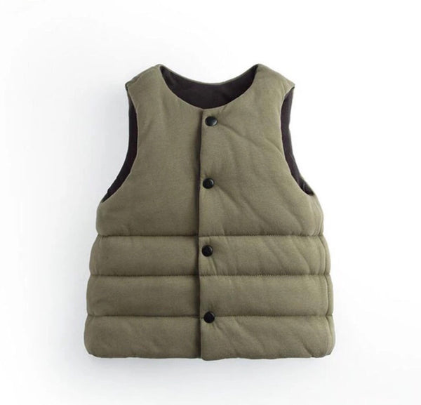 Reversible Puffer Vest Army Green