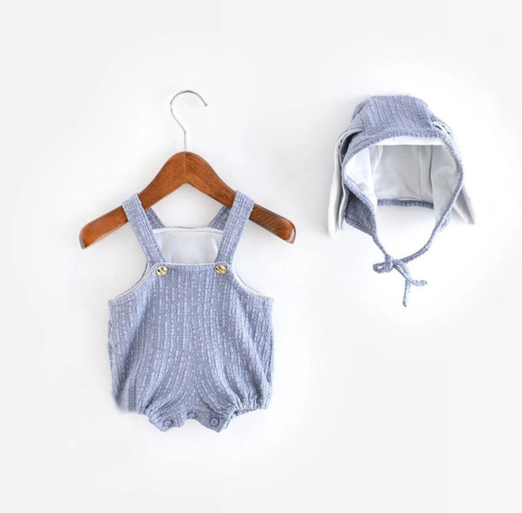 Spring Exclusive: 2 Piece Bunny Coverall with Matching Hat & Tail Blue