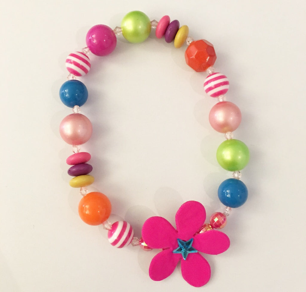 Chunky Bead Necklace Neon Flower