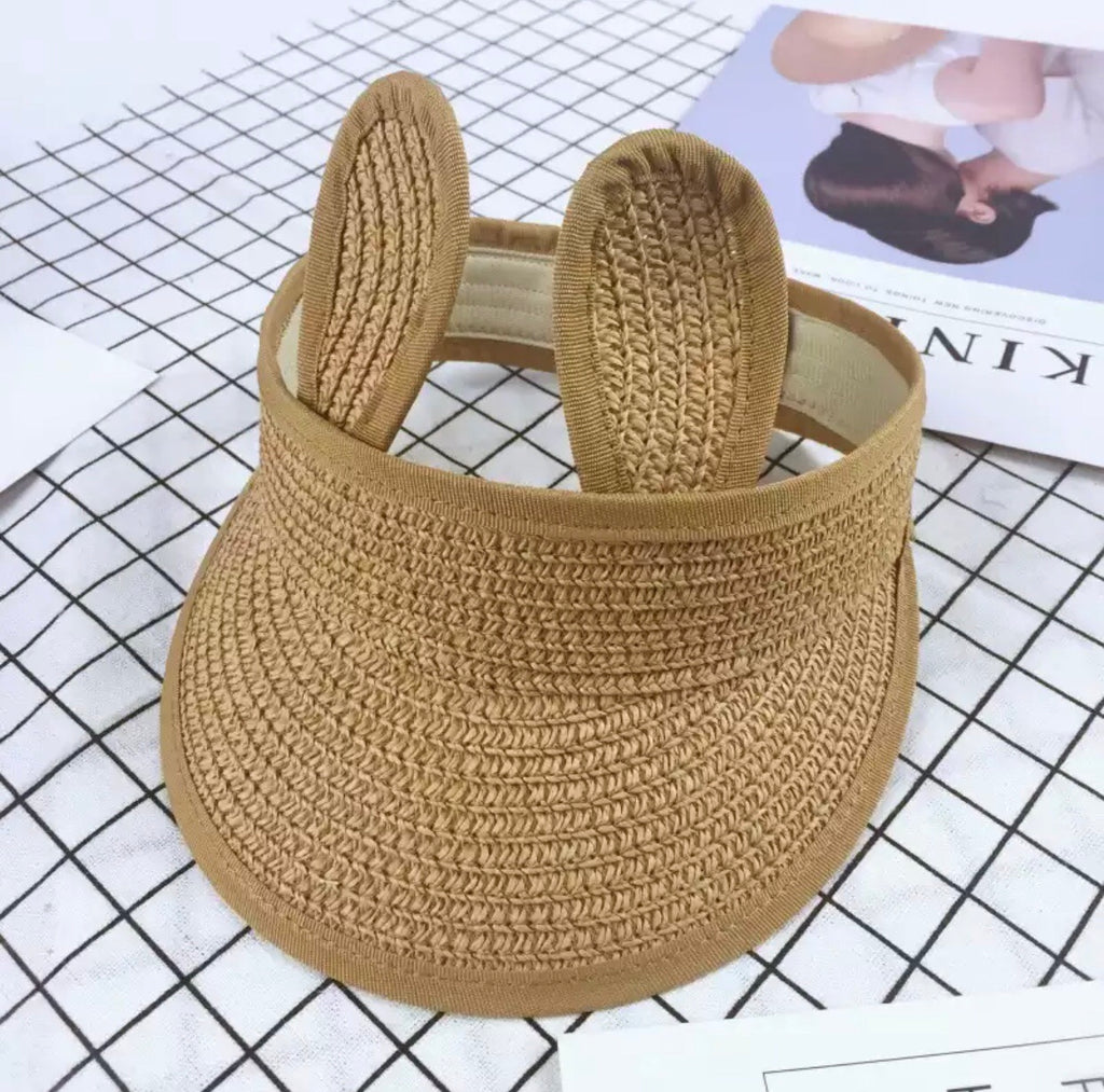 Alexis Straw Woven Bunny Visor Hat